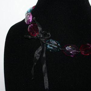 Vnitagejelyfish Jewelry - Colorful pink purple blue ribbon necklace